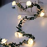 Luces de cadena de flores de rosas, 20 LED de flores de rosas artificiales,...