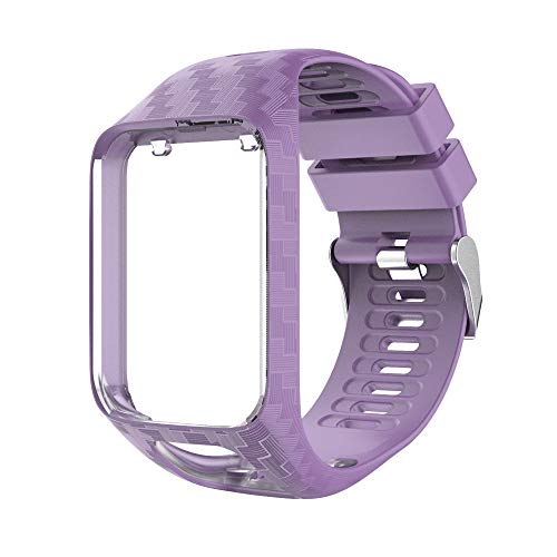Yivibe Watch Strap Watchband for Tomtom 2 3 Series Silicone Wrist Band Strap for Tomtom Runner 2 3 Spark GPS Watch Tracker Replacement ( Color : Purple )
