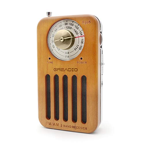 AM FM Portable Radio, Retro Cherry Wood Pocket Radio with Best Reception, Headphone Jack, Battery Operated Personal Transistor by 2 AA Battery for Jogging, Walking and Travelling