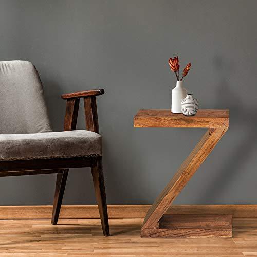 WOMO-DESIGN Beistelltisch Zanarkand Z-Form 60 cm, Braun, Unikat, handgefertigt aus Massivholz Akazienholz, Landhaus-Stil, Couchtisch Kaffeetisch Wohnzimmertisch Sofatisch Loungetisch Holztisch