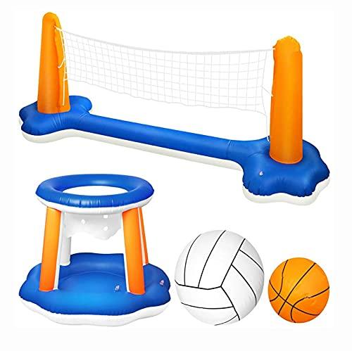 Aufblasbares Volleyball-Set,Aufblasbares Wasserballspiel - Volleyballnetz Sommer Pool Beach Wasserballspiel Volleyball Netz Spielzeug Spielen Strand Schwimm Badespielzeug Aufblasbarer Basketball