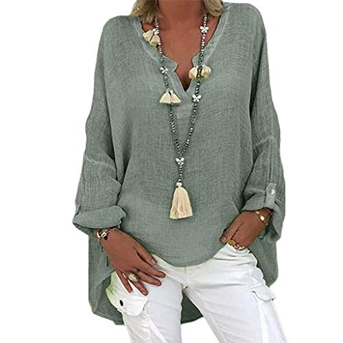 Oversized Tunics for Women to Wear with Leggings Long Cuffed Sleeve Tops V Neck Blouse Solid Shirts Plus Size.M-5XL Green
