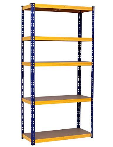 MAXPLUS Estantería de almacenamiento con 5 estantes, estantería para libros, para ventas, para cargas pesadas, estantería multiusos, altura ajustable, 875 kg, 180 x 90 x 40 cm, azul y amarillo