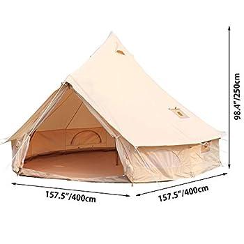 VEVOR Tente Mongole Diamètre de 4m Yourte Mongole de Coton Camping Tente Camping Yourte