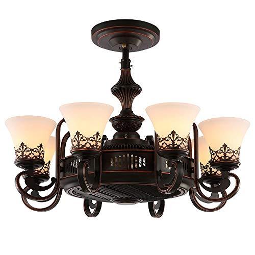 Luce Plafoniera Invisible Habitación Sala Negro ventilador de luz LED restaurante eléctrica de la lámpara del ventilador, control remoto, tamaño: 85 * 50 Cm
