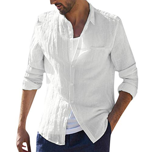 Buy Discount XQXCL Long Sleeve Shirts for Men Retro Baggy Cotton Linen Tops Solid Color Tops White