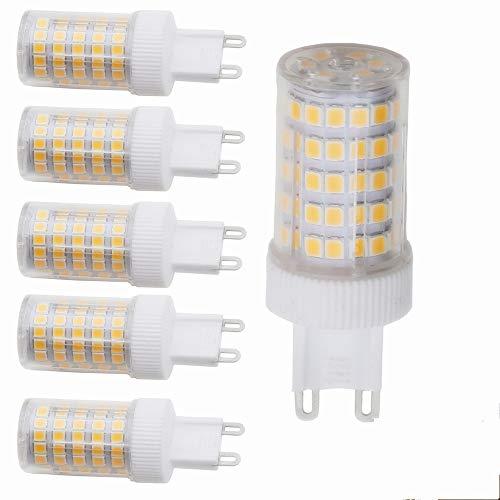 G9Bombilla LED Bombilla 10W, blanco cálido, G9Bombilla LED Repuestos para 80W G9halógena Lámpara, 800lumen, 3000K, 220V AC, 360grados, CRI > 82, 5unidades