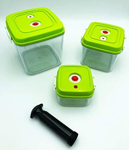 Vakuum Behälter-Set von VACU NO.1 - drei Vakuum-Behälter für Lebensmittel - inklusive Handpumpe