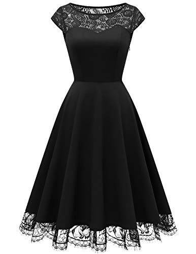 HomRain HomRain Damen Rockabilly Kleid Knielang Vintage Retro Kleider Faltenrock Cocktailkleider Abendkleid Black 2XL