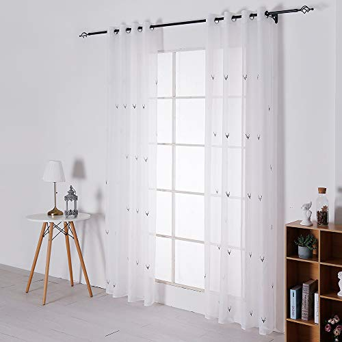 Frenessa Cortinas Translucidas Visillos Blancos Infantiles para Salón Dormitorio con Ojales 2 Piezas 140 x 260 cm, Bordado de Reno Gris