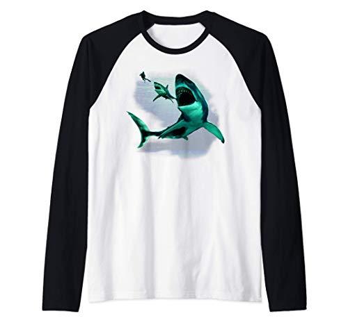 Monster Megalodon Shark, Weißer Hai & Taucher Raglan