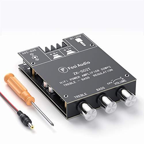 Scheda amplificatore ricevitore audio stereo Bluetooth 5.0, modulo amplificatore AUX wireless a 2 canali, controllo bassi e alti per altoparlanti passivi domestici TPA3116D2 50W x2 Fosi Audio ZK-502T