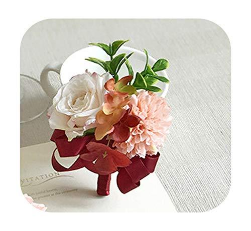 Art Flower Rosas de muñeca para dama de honor, Dracaena Sanderiana, broche para mujer, para boda, baile, fiesta, color rojo vino