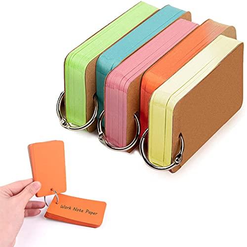 5 Paquetes 375 Piezas Tarjetas de Estudio de Papel, Notas Cartulina Mini Bloc Tarjetas de Indice Flash Carpeta Multicolor Memo Note Pads 4 x 7 cm