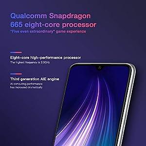 "Xiaomi Redmi Note 8 Smartphone,4GB 64GB Mobilephone,Pantalla Completa de 6.3 "",Procesador Snapdragon 665 Octa Core,Quad Cámara(48MP + 8MP + 2MP + 2MP) Versión Global(Blanco)"