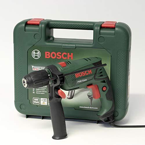 Bosch PSB EasySchlagbohrmaschine 500W, Schnellspannbohrfutter, elektronische Einstellung, Softgrip-Gehäuse, in Kunststoffkoffer