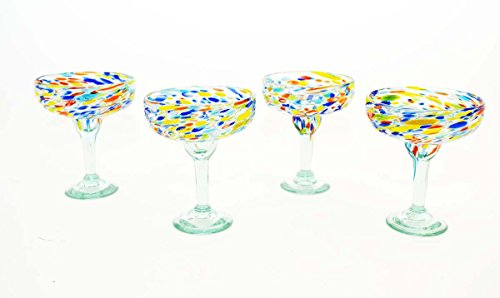Set of 4, Carnival Confetti Margarita Glasses-14 Ounces