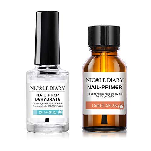 NICOLE DIARY Professional Natural Nail Prep Dehydrate and Bond Nail-Primer, Nail Protein Bond, Superior Bonding Nail-Primer for Acrylic and UV Gels