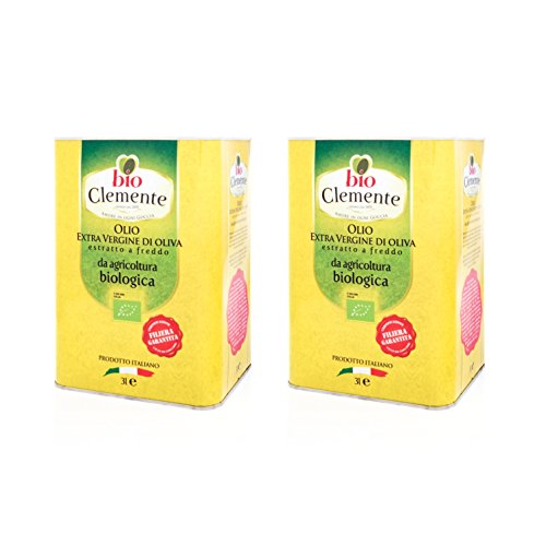 Huile Clemente - Offre Spéciale - 2 Boîtes d'Huile d'Olive Extra Vierge, 100% Italien, Bio Clément, 3 Litres