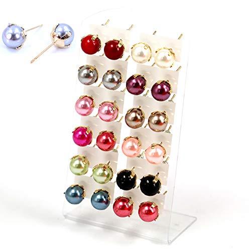 Brussels 08 - 12 paires de boucles d'oreilles à tige élégantes en perles synthétiques - Assortiment de couleurs - Pour femme et fille - Multicolore