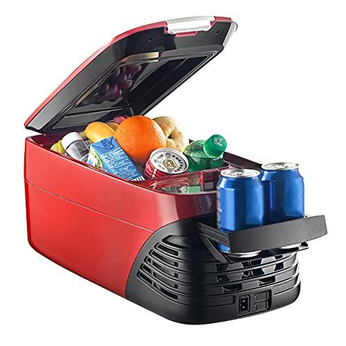 8L Refrigeradores de Automóviles, Compresor Pequeño refrigerador Portátil Refrigerador Eléctrico frío y Caliente para Conducir, Viajes, Picnic Al Aire Libre, DC 12V 24V AC 220V, Rojo