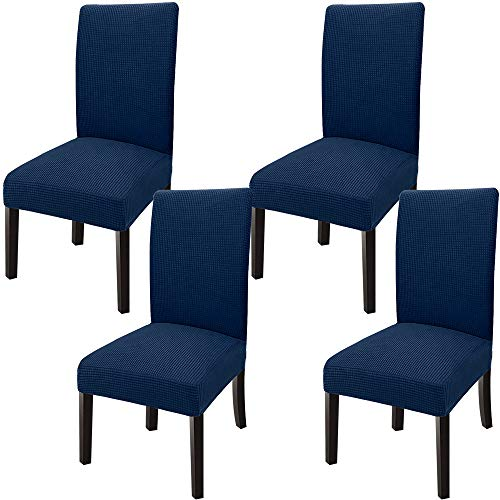 GoodtoU Chair Covers for Dining Room Chair Covers Dining Chair Slipovers (Set of 4, Navy Blue)