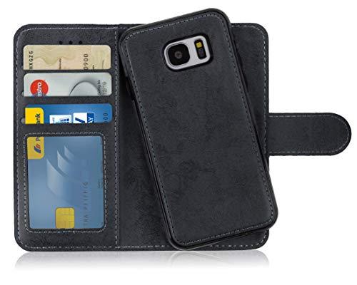 MyGadget Flip Case Handyhülle für Samsung Galaxy S7 Edge - Magnetische Hülle in PU Leder Klapphülle - Kartenfach Schutzhülle Wallet - Schwarz
