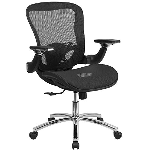 Flash Furniture Mid-Back Transparent Black Mesh Executive Swivel Ergonomic Office Chair with Synchro-Tilt & Height Adjustable Flip-Up Arms, BIFMA Certified