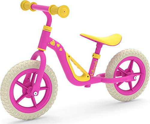 Chillafish Charlie lightweight toddler balance bike with carry handle, cute balance trainer for 18-48 months, learn to bike with 10' inch no-puncture wheels, adjustable seat handlebar Pink
