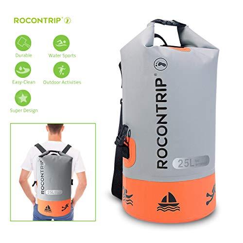 ROCONTRIP Waterproof Dry Bag Dry Sack 10L/25L/40L, Lightweight Waterproof Backpack for Kayaking, Beach, Rafting, Boating, Hiking, Camping and Fishing (Orange 25L)