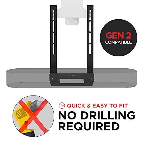 Soundbass Beam TV Mount, Black, Compatible with Sonos Beam Soundbar, Mounting Bracket for TV, Full Hardware Kit Included [Gen 2 Compatible]