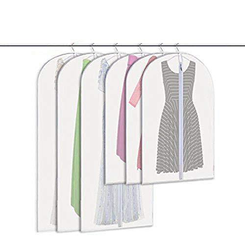 zimo Lot de 6 Housses pour vêtements - 60 x 105 cm + 60 x 135 cm - Housse de Costume avec Fermeture éclair - Transparent - Respirant pour vêtements et Costumes.