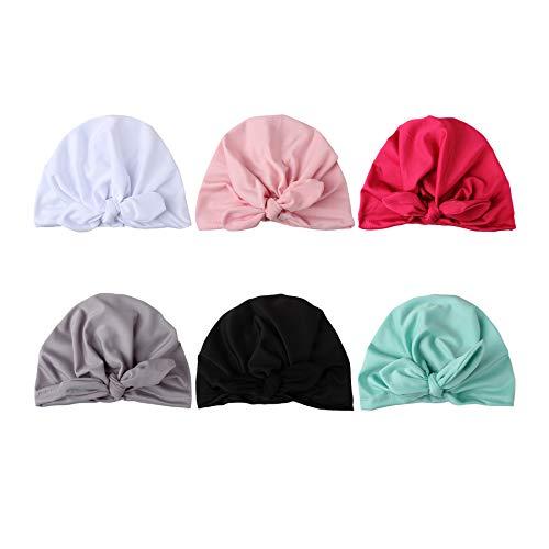 COUXILY Baby Hat 6 Unids Recién Nacido Elastico Stretch Head Wrap Infantil Turbante Niño Bebé Nudo Diadema (HP-C02)