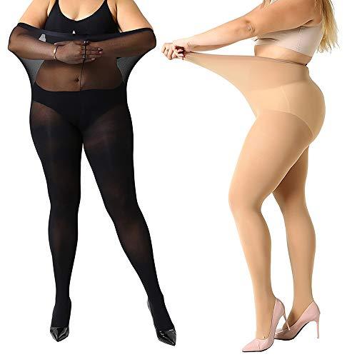MANZI Damen Strumpfhose 2 or 4 Paar Plus Größen XL-4XL(44-62), 1 Paar Beige,1 Paar Schwarz(70 Den), 70 Denier XL