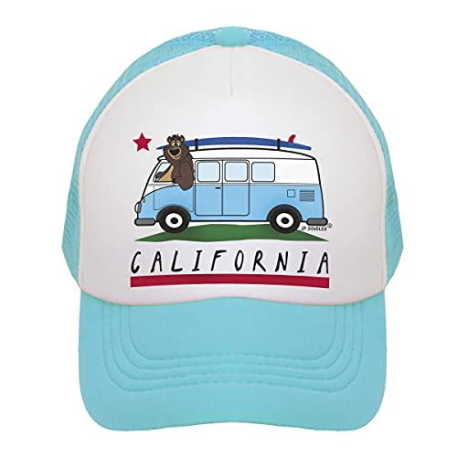 La's DreamHome Sombrero de camionero de California Surfer Bear Bus Hat Kids Trucker Gorra de béisbol para bebé, niño pequeño y juvenil