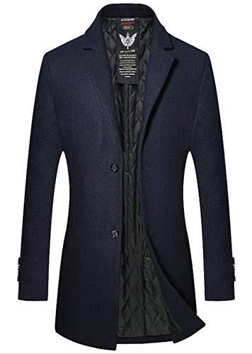 Herren Winter Lang Mantel Woll Trenchcoat Slim Warm Herrenmode Fit Windbreaker Business Outwear Langarm Revers Vintage Fashion Blazer Jacke (Color : Dunkelblau, Size : M)