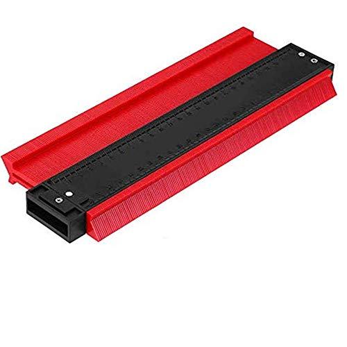 ALSKY 型取りゲージ 250mm コンターゲージ , 曲線定規 測定ゲージ 不規則な測定器 ,コンターゲージ DIY用 角度と曲線をコピーする測定ゲージ 目盛付き (レッド)