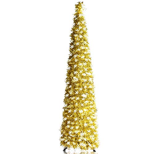 YuQi 5ft Collapsible Artificial Golden Christmas Tree w/Shiny White Snowflakes Sequins, Pop Up Gold Tinsel Coastal Xmas Trees for Holiday Carnival Party Decorations
