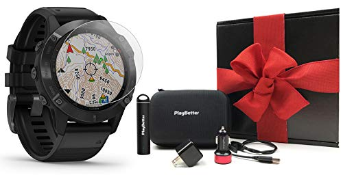 Garmin Fenix 6 Pro (Black with Black Band) Gift Box Bundle | +HD Screen Protectors, PlayBetter Portable Charger, Car/Wall Adapters & Protective Case | Multisport Fitness Watch