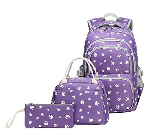 JiaYou School Backpack Sets 3pcs Dog Paw Prints Daypack For Teens Girls Primary School Students(Purple 3PCS,20L)