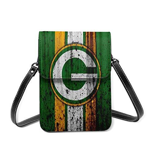 XCNGG Green-Bay P-Ackers USA Sport Frauen Leichte Ledertasche, kleine Umhängetasche Mini-Handytasche Umhängetasche, Brieftasche