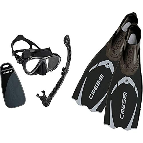 Cressi Big Eyes EVO Conjunto Combo de Snorkel, Unisex Adulto, Negro/Negro, Talla Única + Pluma Aletas de Buceo, Color Negro (Black) Tamaño 43/44