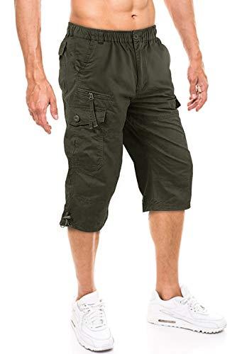 Herren Cargo Hose Männer Bermuda Shorts Baumwolle Cargohose Kurze Urlaubshose Bequeme Sommer shorts Freizeit Sommerhose Kurze Hose Baumwolle Outdoor Shorts leichte Baumwollhose Caprihose Grün