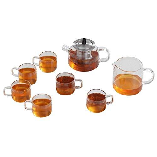 QIXIAOCYB Juego de té de cristal resistente al calor elegante taza taza taza té negro empapado té ceremonia té 200ml