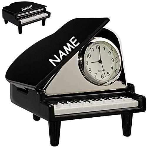 alles-meine.de GmbH kleine - Tischuhr / Miniatur - Uhr - Klavier Flügel - Piano - inkl. Name - aus Metall - 7 cm - batteriebetrieben - Analog - Batterie - schwarz - Zahlen Stehuh..