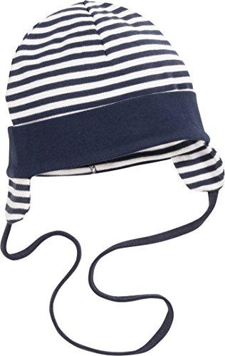 Playshoes Unisex Baby Bindemütze mit Ohrenschutz Mütze, marine/weiß, 47cm