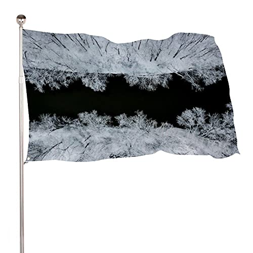 Mesllings Leafless Tree During Night Time River Aerial Black And White 3x5 ft Perfect for Tailgates Dorms College football Fraternities Parties Home House Outdoor Indoor Decor