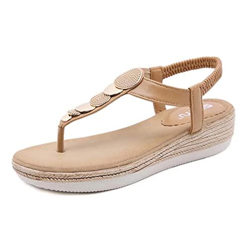 Sandalias Sandalias de verano de verano, tacones de pendiente, zapatos de playa de verano, zapatos de playa para mujer casual de moda, sandalias de plataforma bohemia, sandalias de mujer Sandalias de