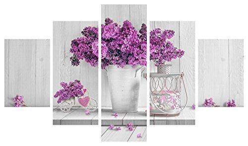 Lupia - Cuadro Moderno 5piezas de madera, Flores moradas, 48x 85cm