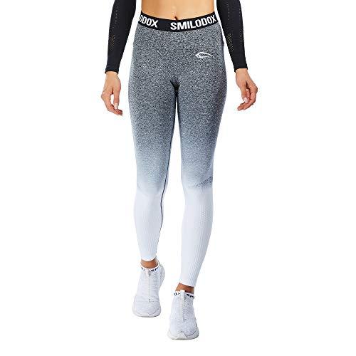 SMILODOX Sport Leggings Damen 'Recent' | Seamless - Figurformende Tight für Fitness Gym Yoga Training & Freizeit | Sporthose - Workout Trainingshose - Tights Laufhose, Farbe:Schwarz, Größe:S